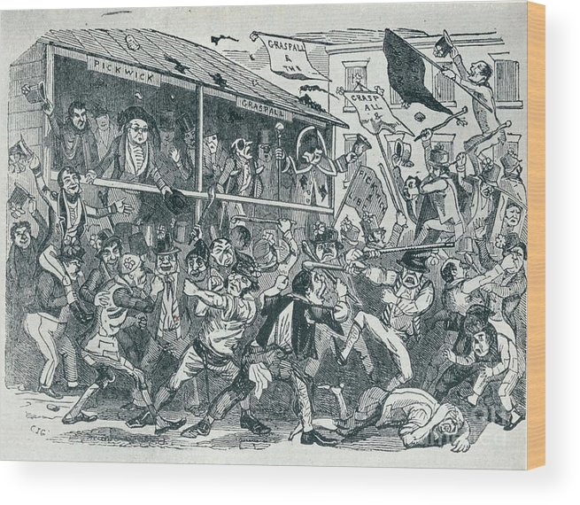 Engraving Wood Print featuring the drawing The Election At Eatanswill, C1836, 1925 by Print Collector