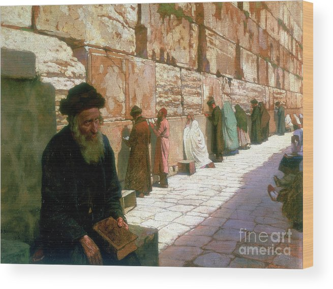 People Wood Print featuring the drawing The Wailing Wall, Jerusalem, 19th by Print Collector