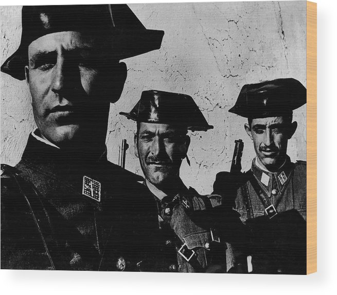 Timeincown Wood Print featuring the photograph Three Members Of Dictator Francos Feare by W. Eugene Smith