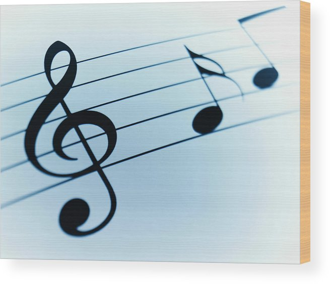 Sheet Music Wood Print featuring the photograph Treble Clef And Notes by Adam Gault