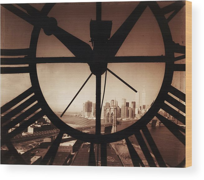 Suspension Bridge Wood Print featuring the photograph Usa,new York City, Brooklyn Bridge And by Russell Kaye/sandra-lee Phipps