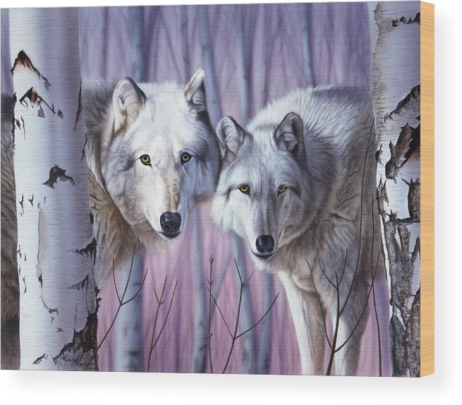 Two White Wolves Standing In Birches Wolf Wood Print featuring the painting White Wolves By Birch by Rusty Frentner