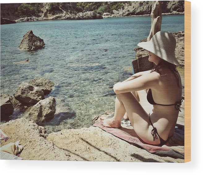 Shadow Wood Print featuring the photograph Woman At The Beach With Hat by Image Taken By Mayte Torres