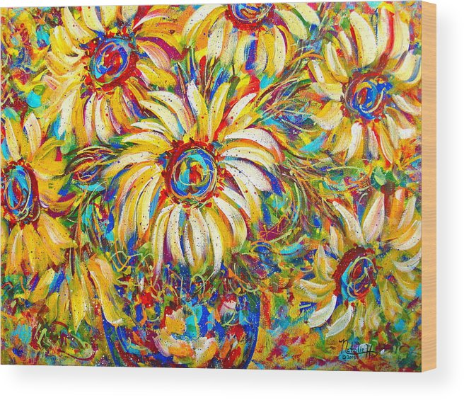 Flowers Wood Print featuring the painting Sunflower Burst by Natalie Holland