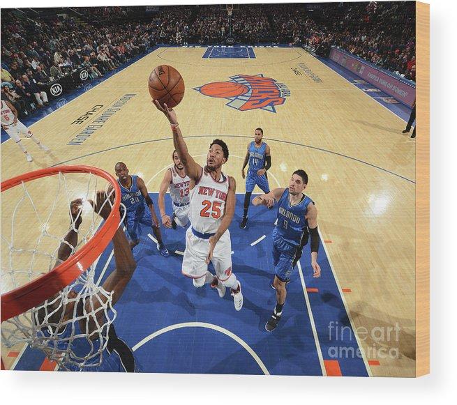 Nba Pro Basketball Wood Print featuring the photograph Derrick Rose by Jesse D. Garrabrant