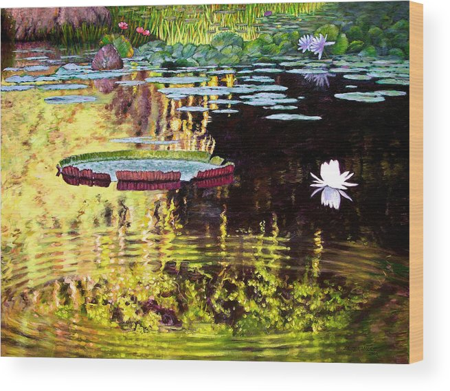 Garden Pond Wood Print featuring the painting Ripples On A Quiet Pond by John Lautermilch