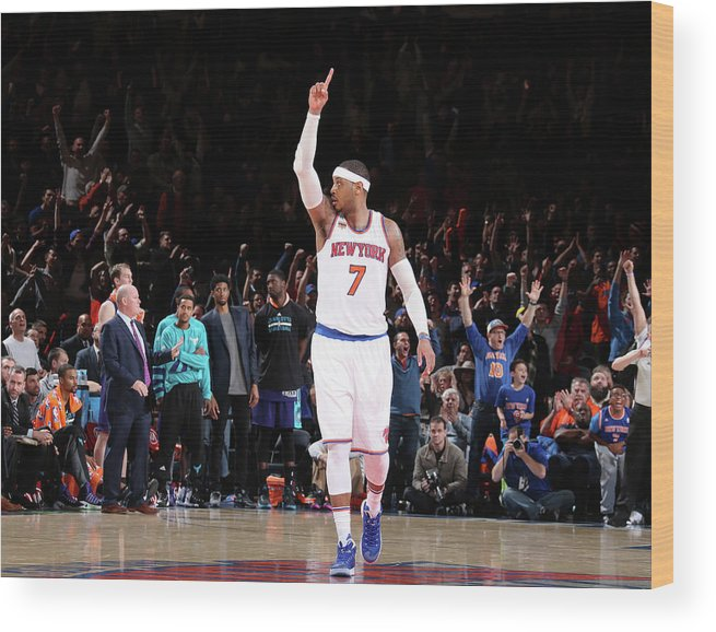 Nba Pro Basketball Wood Print featuring the photograph Carmelo Anthony by Nathaniel S. Butler