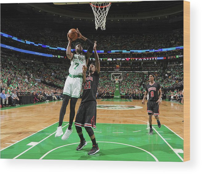 Playoffs Wood Print featuring the photograph Jaylen Brown by Brian Babineau