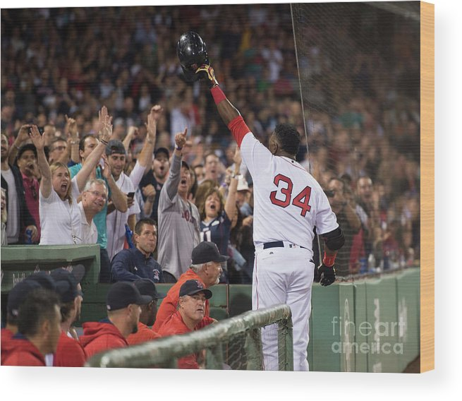 Crowd Wood Print featuring the photograph David Ortiz by Michael Ivins/boston Red Sox