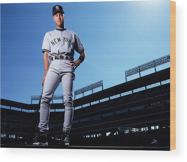 People Wood Print featuring the photograph Derek Jeter by Ronald C. Modra/sports Imagery