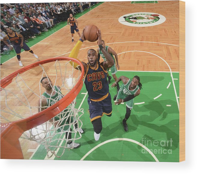 Nba Pro Basketball Wood Print featuring the photograph Lebron James by Brian Babineau