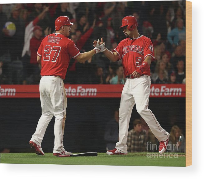 People Wood Print featuring the photograph Albert Pujols, Andrelton Simmons, and Mike Trout by Victor Decolongon