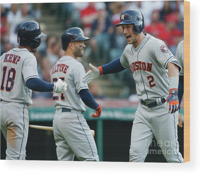 Alex Bregman Wood Print featuring the photograph Alex Bregman, Mike Clevinger, and Tony Kemp by Ron Schwane