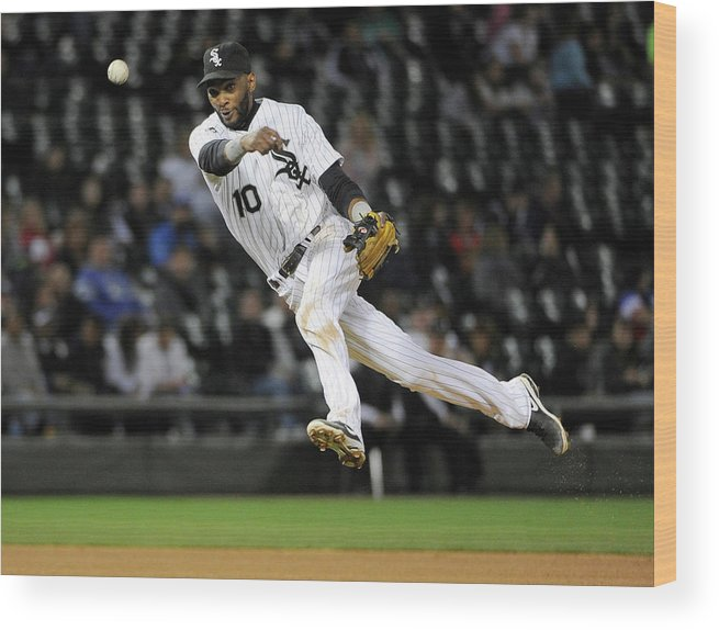 American League Baseball Wood Print featuring the photograph Alexei Ramirez and Ben Zobrist by David Banks