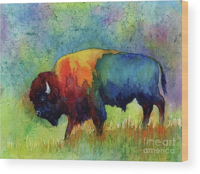 Bison Wood Print featuring the painting American Buffalo III by Hailey E Herrera