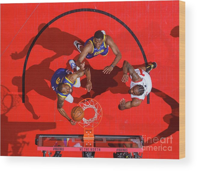 Playoffs Wood Print featuring the photograph Andre Iguodala, Kawhi Leonard, and Kevon Looney by Mark Blinch