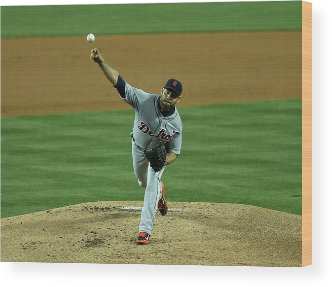 American League Baseball Wood Print featuring the photograph Anibal Sanchez by Stephen Dunn