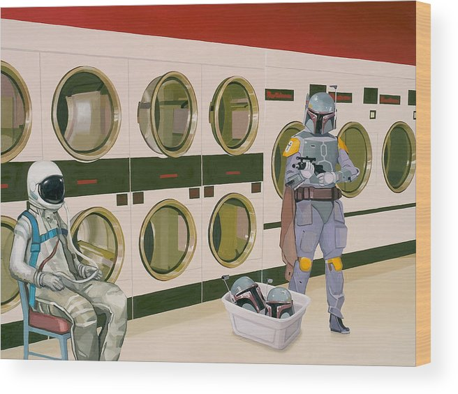 Astronaut Wood Print featuring the painting At the Laundromat with Boba Fett by Scott Listfield