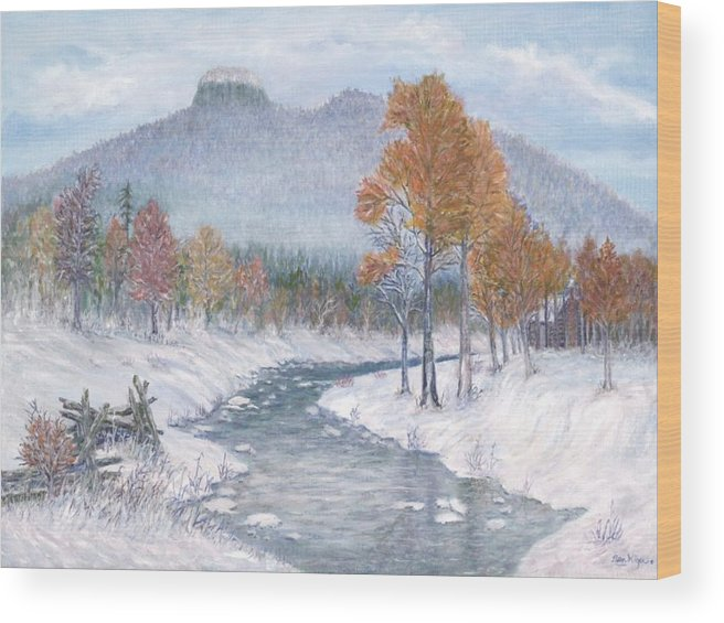 Snow Wood Print featuring the painting Autumn Snow by Ben Kiger
