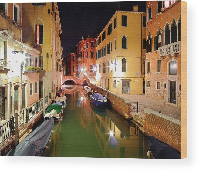 Outdoors Wood Print featuring the photograph Boats in canal by Bernd Schunack
