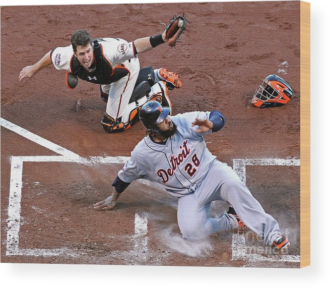 Game Two Wood Print featuring the photograph Buster Posey and Prince Fielder by Christian Petersen