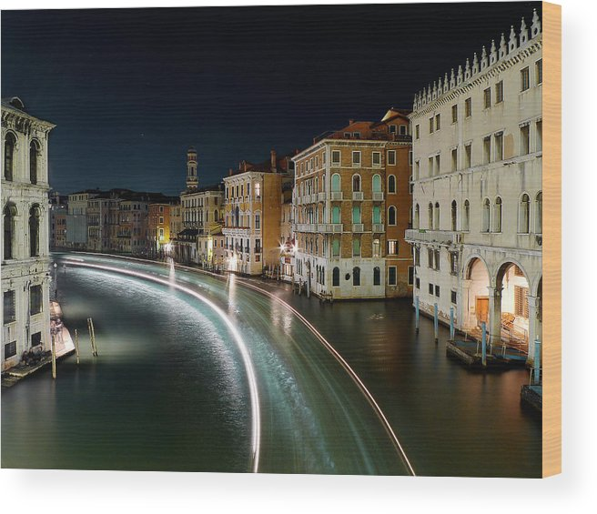 Post Wood Print featuring the photograph Canal Grande at night by Bernd Schunack