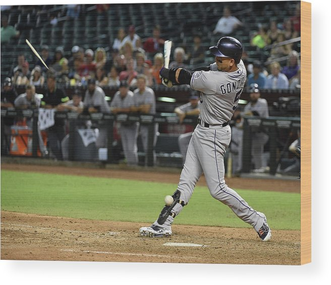 Ninth Inning Wood Print featuring the photograph Carlos Gonzalez by Norm Hall