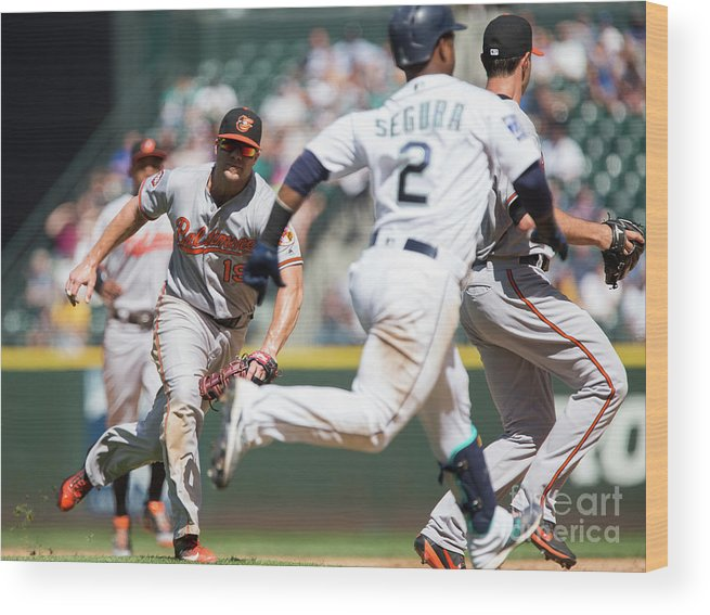 People Wood Print featuring the photograph Chris Davis and Jean Segura by Lindsey Wasson