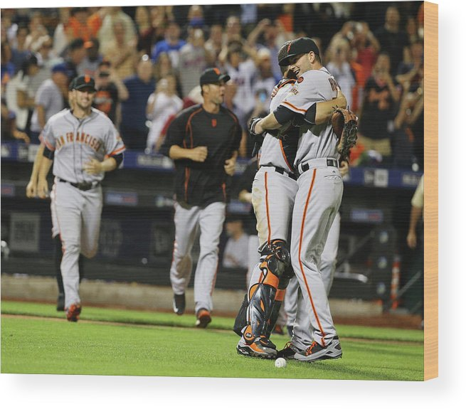 People Wood Print featuring the photograph Chris Heston and Buster Posey by Al Bello