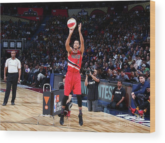 Event Wood Print featuring the photograph C.j. Mccollum by Nathaniel S. Butler