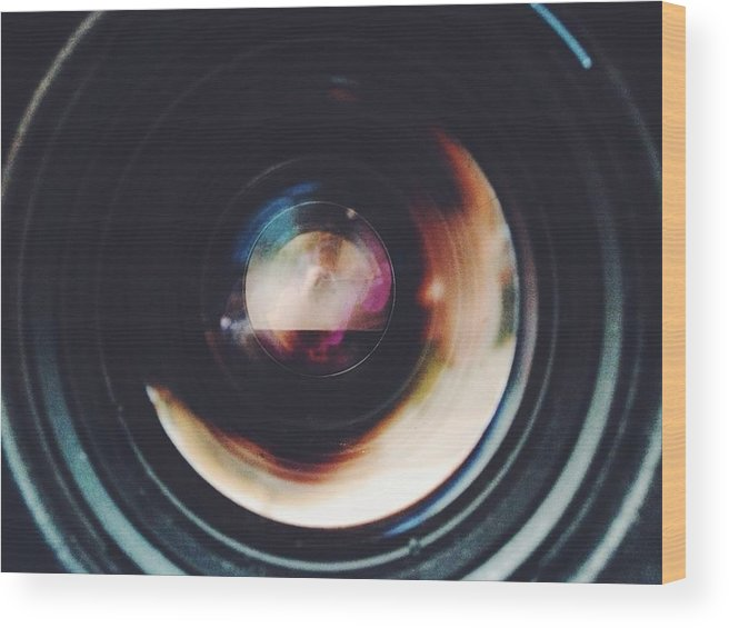 Looking Through An Object Wood Print featuring the photograph Close-Up Of Camera Lens by Sinan Saglam / EyeEm