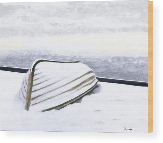 Row Boat Wood Print featuring the painting Cold Storage by Brent Ander