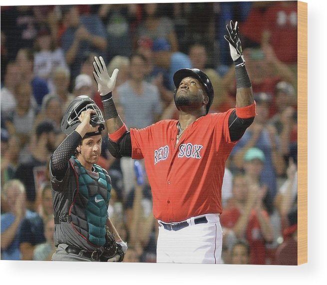 American League Baseball Wood Print featuring the photograph David Ortiz by Darren Mccollester