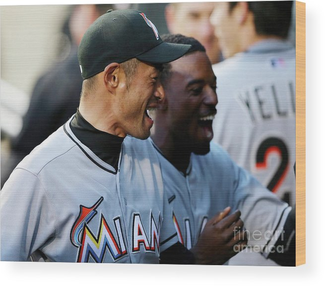 American League Baseball Wood Print featuring the photograph Dee Gordon, Ichiro Suzuki, and Giancarlo Stanton by Elsa