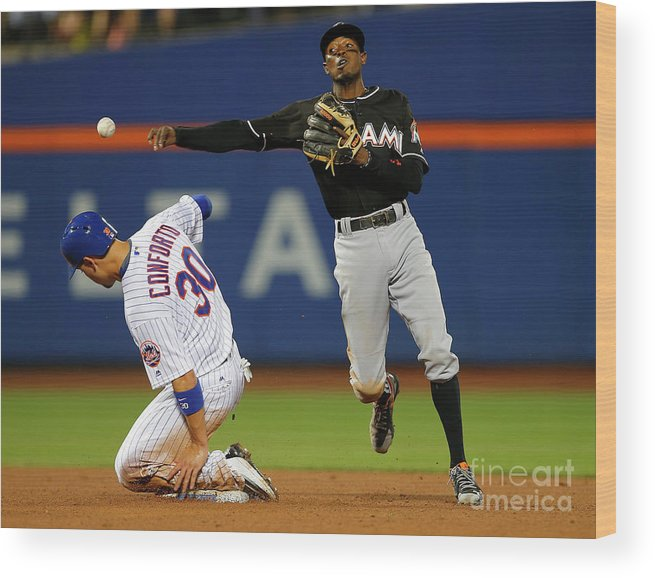 Double Play Wood Print featuring the photograph Dee Gordon, Michael Conforto, and James Loney by Rich Schultz