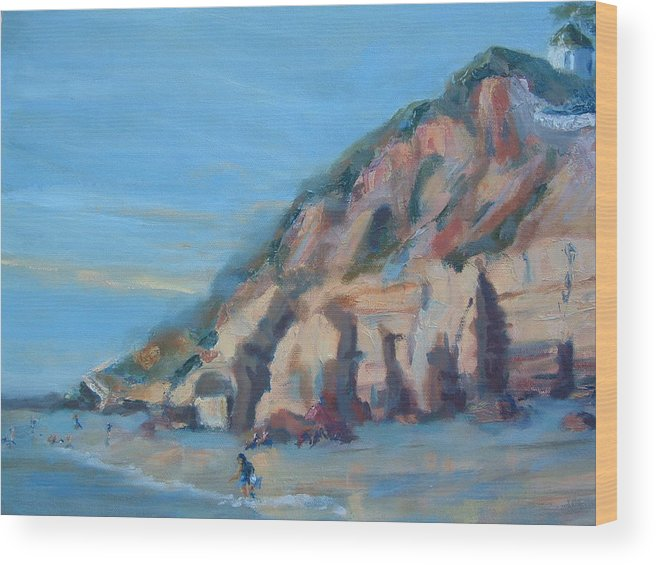 Seascape Wood Print featuring the painting Dog Beach   Del Mar Ca by Bryan Alexander