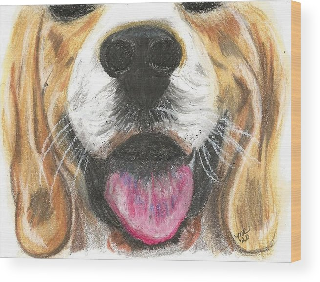 Dog Face Wood Print featuring the painting Dog Face by Monica Resinger