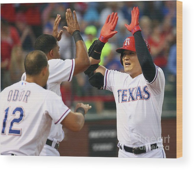 People Wood Print featuring the photograph Elvis Andrus, Shin-soo Choo, and Rougned Odor by Tom Pennington