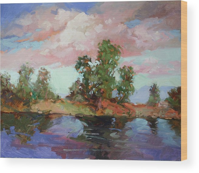 Plein Air Paintings Wood Print featuring the painting End of the Cottonwoods by Betty Jean Billups