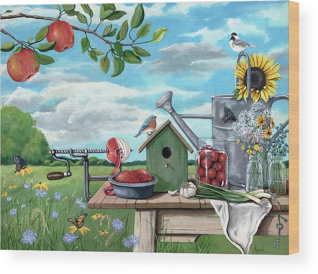 Landscape Wood Print featuring the painting Forever Summer by Linda Apple
