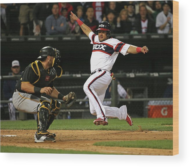 American League Baseball Wood Print featuring the photograph Francisco Cervelli and Melky Cabrera by Jonathan Daniel