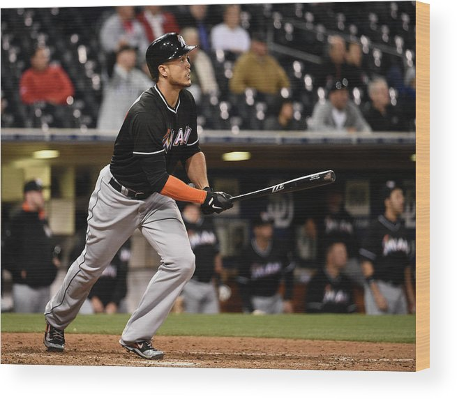 California Wood Print featuring the photograph Giancarlo Stanton by Denis Poroy