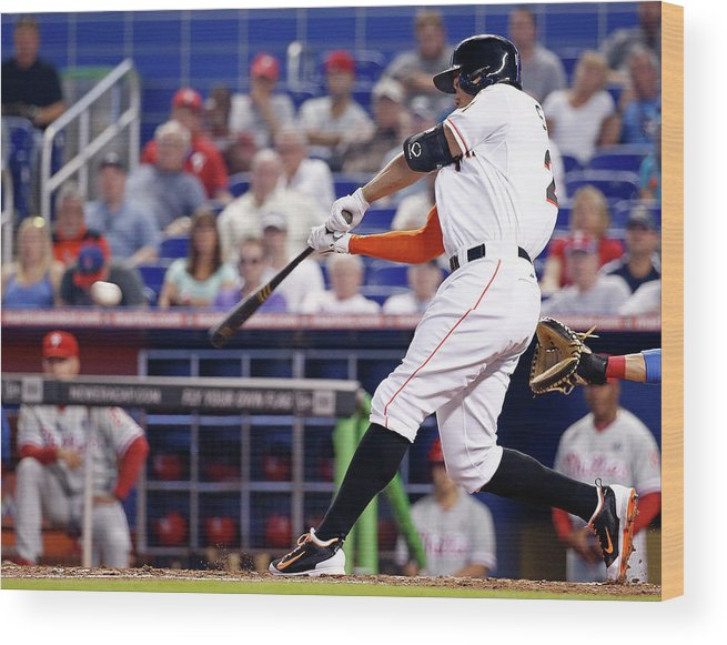 American League Baseball Wood Print featuring the photograph Giancarlo Stanton by Rob Foldy