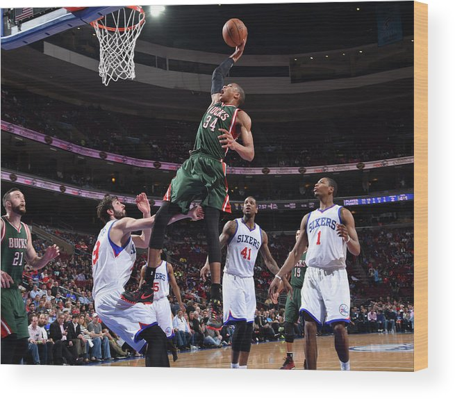 Nba Pro Basketball Wood Print featuring the photograph Giannis Antetokounmpo by Jesse D. Garrabrant