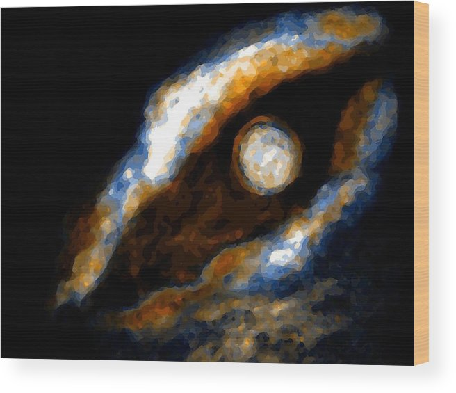 Spacescape Wood Print featuring the mixed media Golden moon by Joseph Ferguson