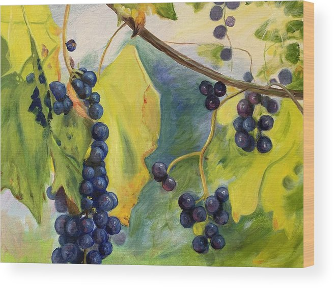 Wine Wood Print featuring the painting Grapes On The Vine by Anne Kushnick