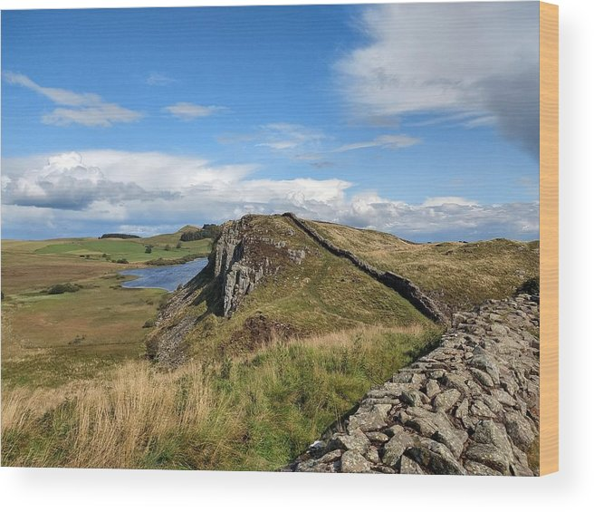 Landscape Wood Print featuring the photograph Hadrianswall by Pop