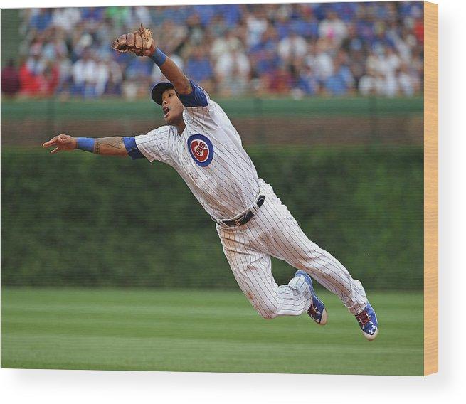 People Wood Print featuring the photograph Hunter Pence and Addison Russell by Jonathan Daniel