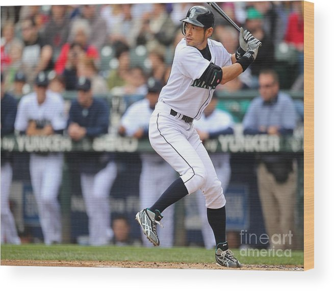 American League Baseball Wood Print featuring the photograph Ichiro Suzuki by Otto Greule Jr