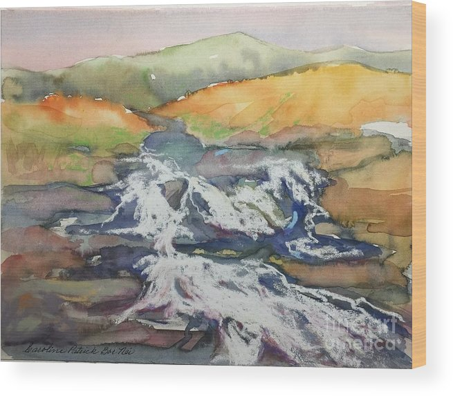 Water Wood Print featuring the painting Ireland Highland Stream by Caroline Patrick
